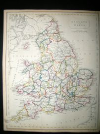 Becker C1840 Antique Map. England & Wales